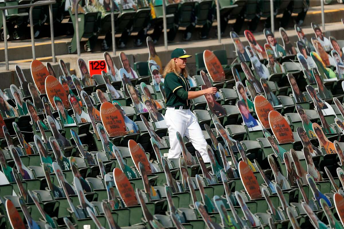 Oakland Athletics' Jordan Weems walks in the stands during 5-3 loss to San Diego Padres in MLB game at Oakland Coliseum in Oakland, Calif., on Sunday, September 6, 2020.