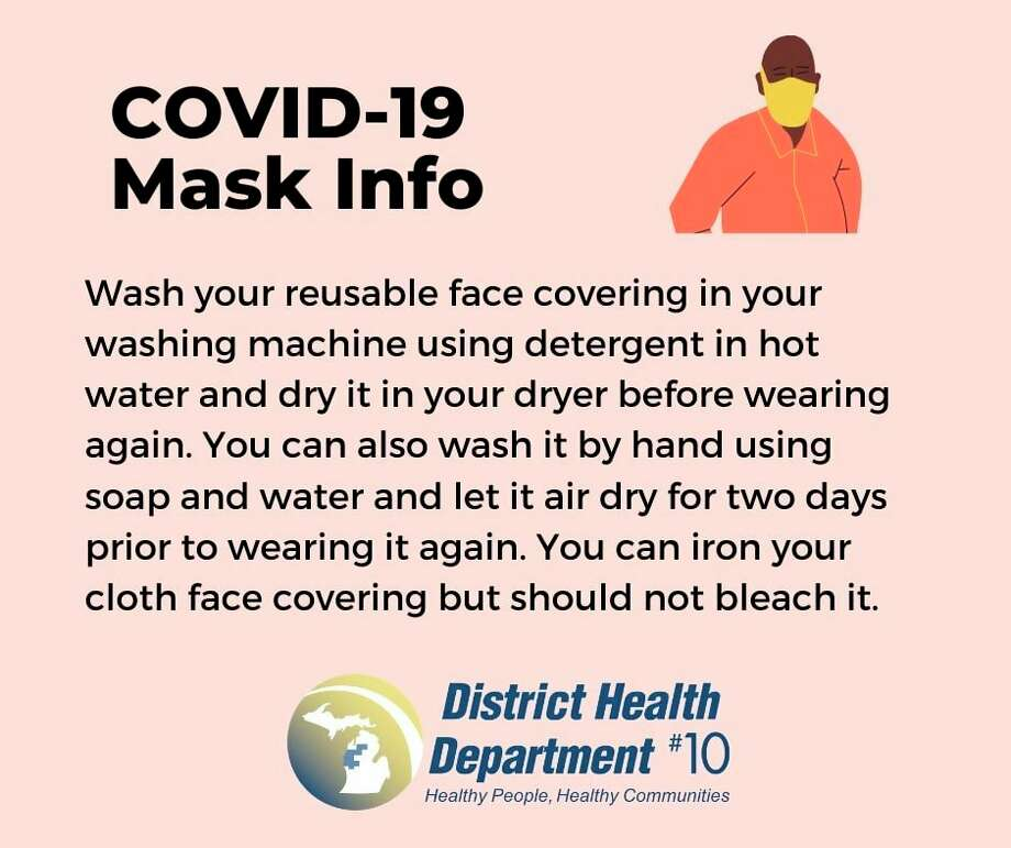 District Health Department #10 recommends washing or disposing of your mask right after use. (Graphic from DHD#10 website)