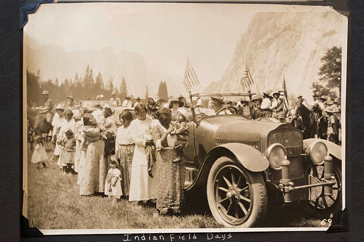 Helen Coats keeps a scrapbook with photos like this one, taken during Indian Field Days in Yosemite National Park.