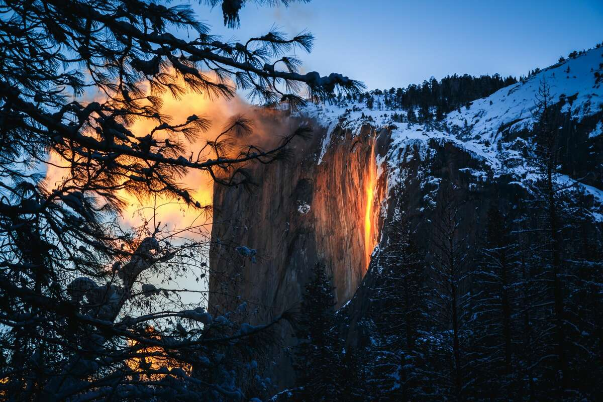 The rare phenomenon only occurs during a brief two-week window in February at Horsetail Falls.