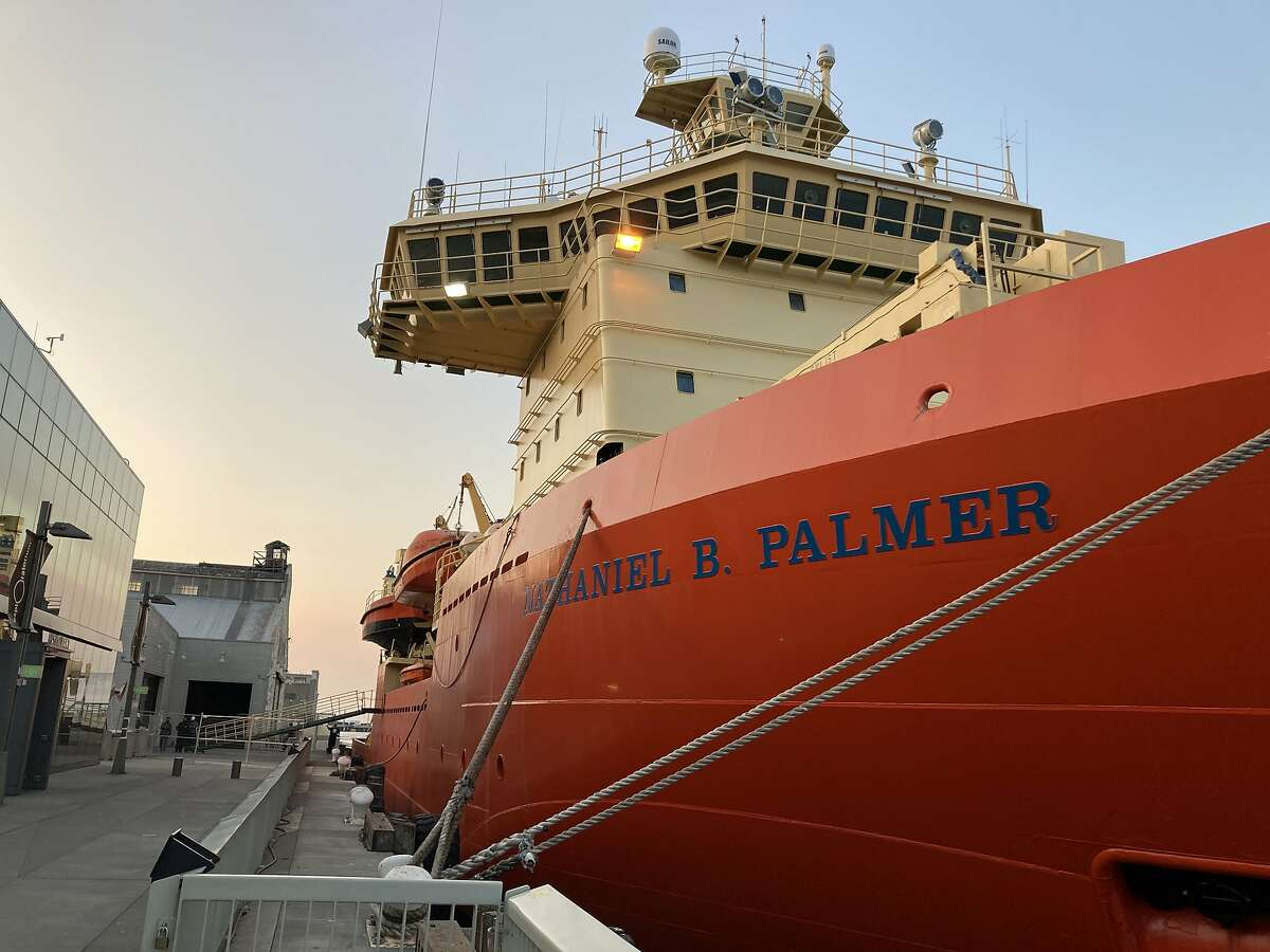 The icebreaker Nathaniel B. Palmer is docked at Pier 17 next to the Exploratorium.