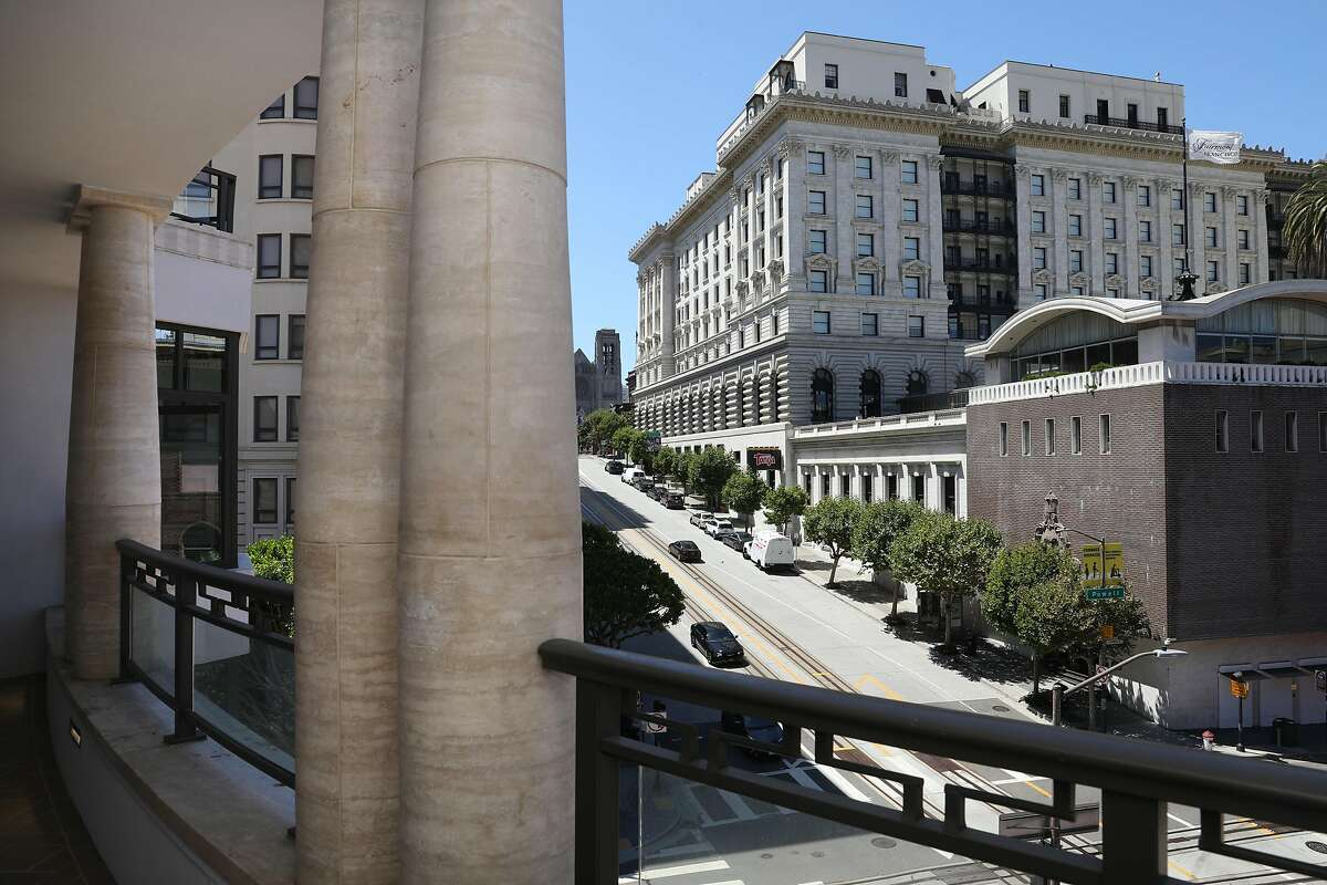 The Fairmont hotel seen at right from a balcony at the Crescent Nob Hill on Thursday, Aug. 6, 2020, in San Francisco, Calif.