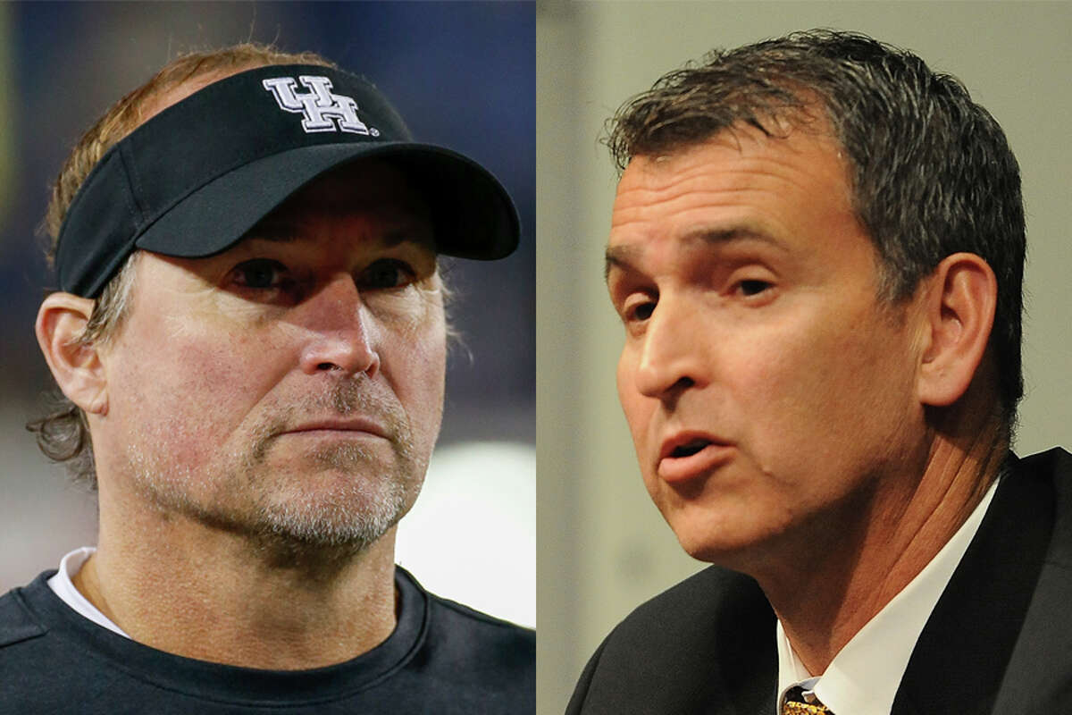 Baylor athletic director Mack Rhoades (right) did not appreciate comments made by UH coach Dana Holgorsen after the schools' football game was canceled because of the Bears' COVID-19 issues.