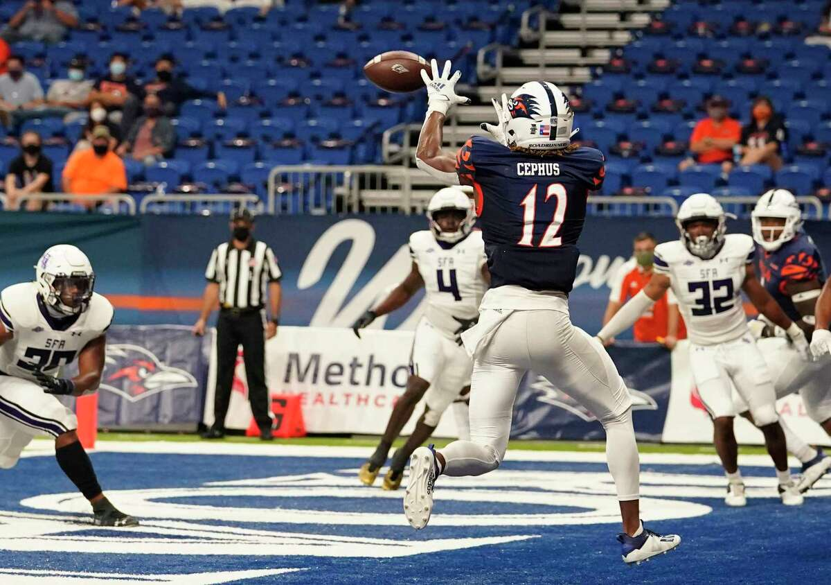 UTSA wide receiver Joshua Cephus (12) makes a catch for a touchdown against Stephen F. Austin during the first half of an NCAA college football game, Saturday, Sept. 19, 2020, in San Antonio. (AP Photo/Eric Gay)