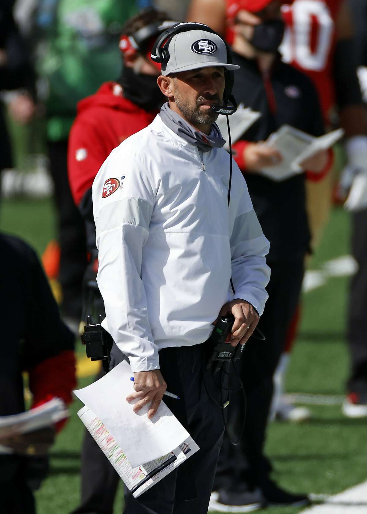 San Francisco 49ers head coach Kyle Shanahan looks on against the New York Jets during an NFL football game, Sunday, Sept. 20, 2020, in East Rutherford, N.J. (AP Photo/Adam Hunger)