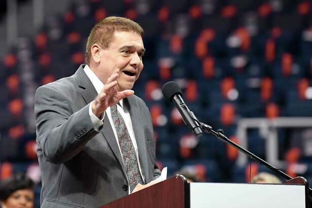 Arena Football League Assistant Coach of the Year Albany Empire's Les Moss speaks during the Arena Football League 2019 award ceremony at the Times Union Center, Saturday, Aug. 10, 2019, in Albany, N.Y. (Hans Pennink / Special to the Times Union)