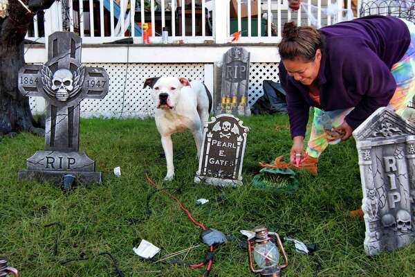 Chanel Owens sets up Halloween decorations in front of her home on Howard Avenue in Ansonia on Tuesday. Joining her in the yard is her dog Bishop.