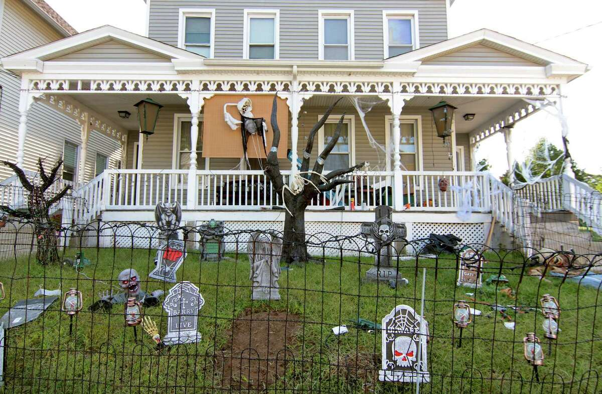 A view of Halloween decorations in front the home of Chanel Owens on Howard Avenue in Ansonia on Tuesday.