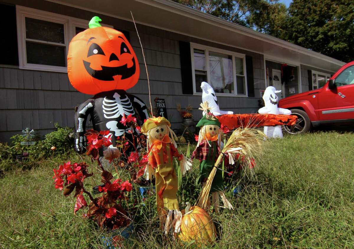 A Halloween decorated home on Prospect Street in Ansonia on Sept. 22.