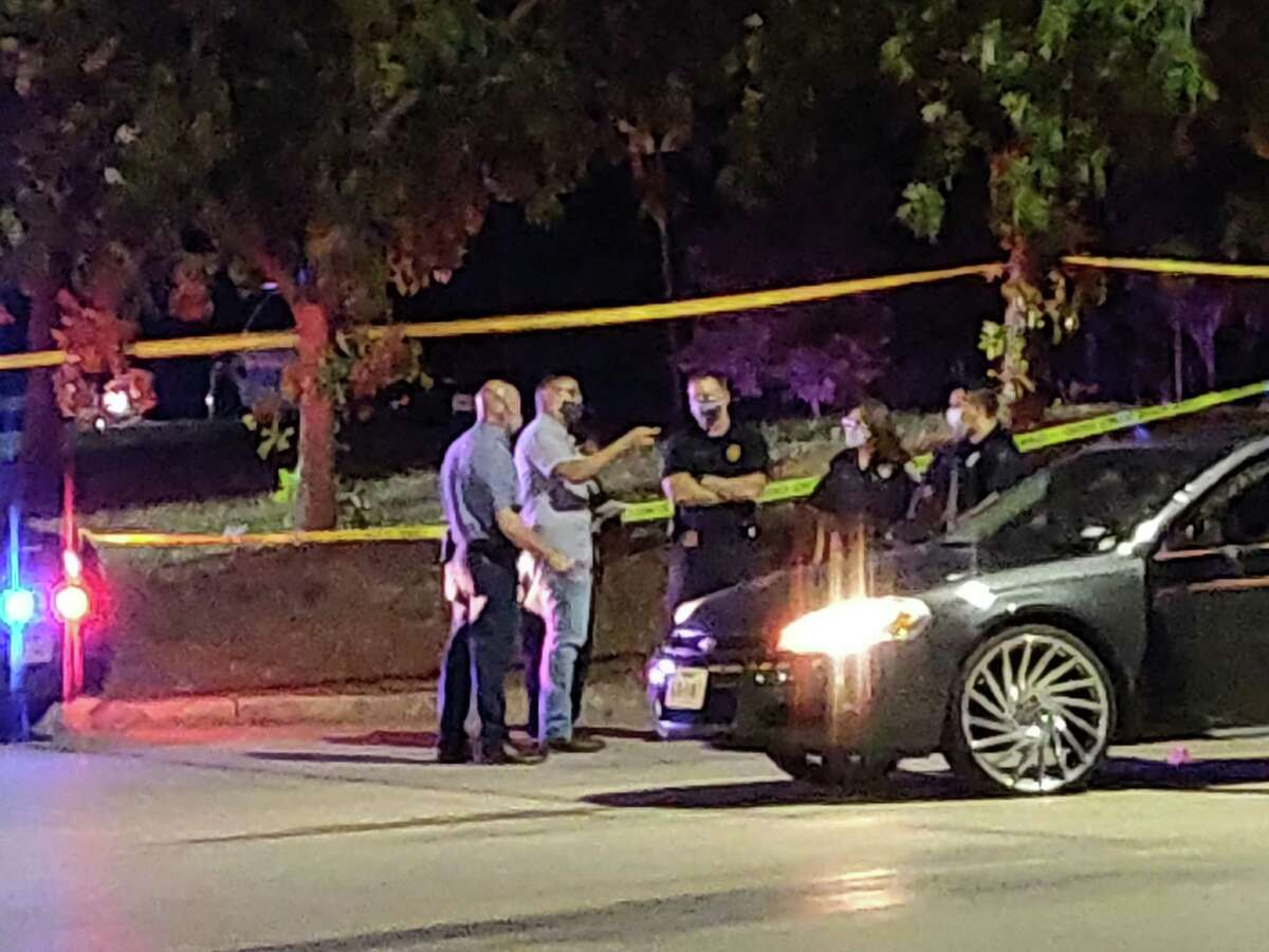 San Antonio police investigate the scene of a fatal shooting outside a CVS at 9838 Potranco Road.