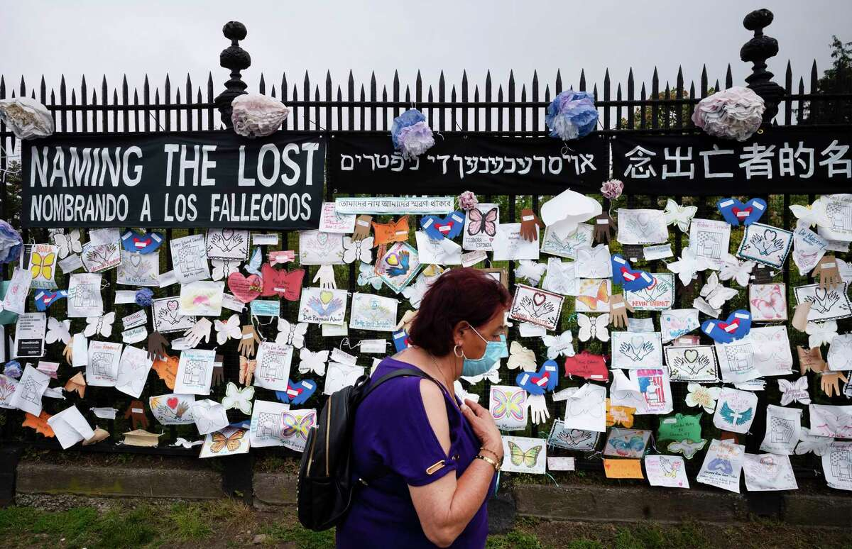 FILE. Letter writer notes that 'Never Forget,' which became a motto after 9/11/2001, applies now to those killed by coronavirus. (AP Photo/Mark Lennihan)