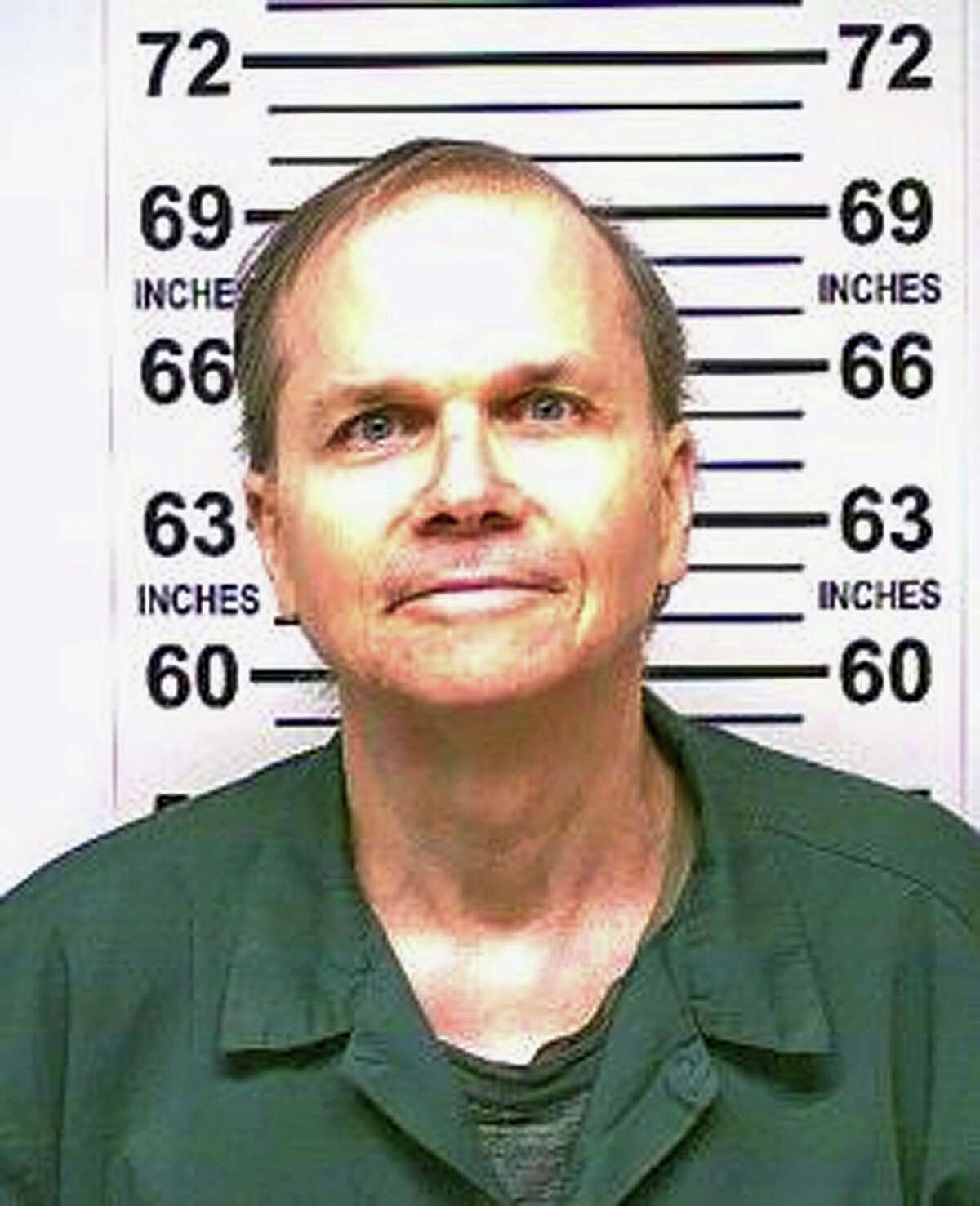 FILE - This Jan. 31, 2018 photo, provided by the New York State Department of Corrections, shows Mark David Chapman, the man who killed John Lennon outside his Manhattan apartment in 1980. Chapman said he was seeking glory and deserved the death penalty for the a€œdespicablea€ act. Chapman made the comments in response to questions last month from a parole board, which denied him parole for an 11th time. (New York State Department of Corrections via AP, File)