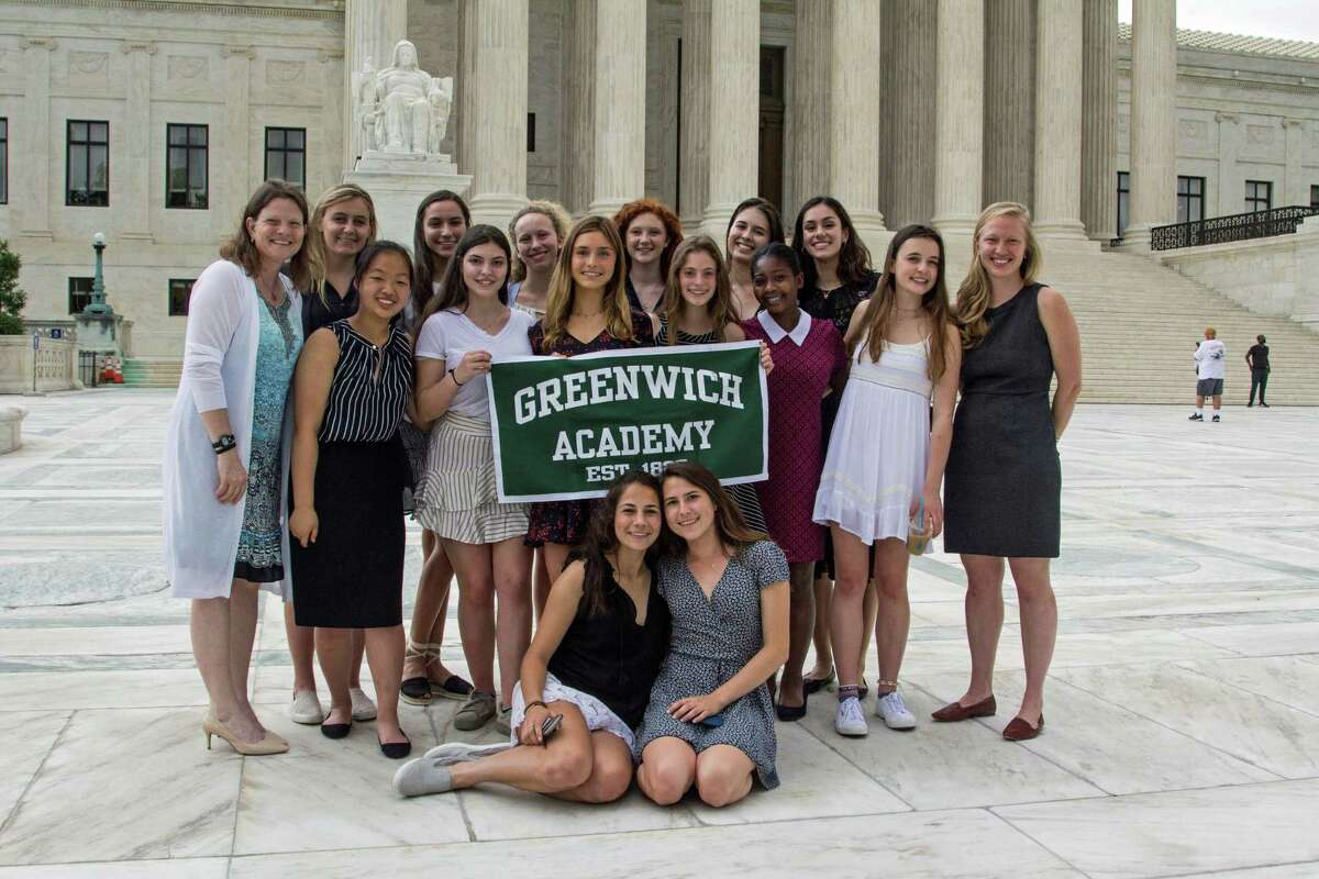 Greenwich Academy's inaugural Institute for Public Purpose visiting the Supreme Court in Washington, D.C., in 2018. The 14 Greenwich students, led by teacher Connie Blunden, met with Supreme Court Justice Ruth Bader Ginsburg, who died Sept. 18, 2020.