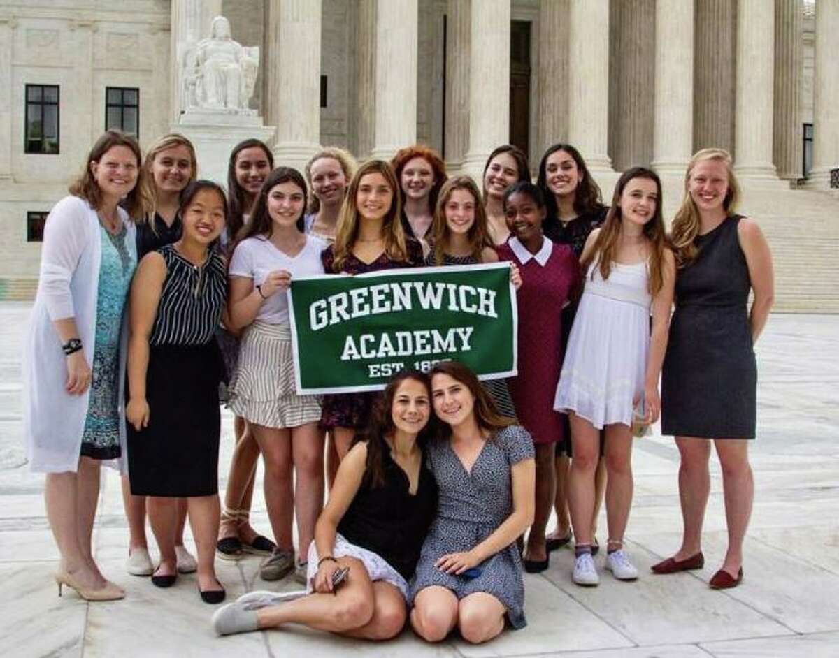 In May 2018, teacher Connie Blunden led Greenwich Academy's inaugural Institute of Public Purpose trip to Washington, D.C. This group, pictured outside the U.S. Supreme Court, had the honor of meeting Justice Ruth Bader Ginsburg.