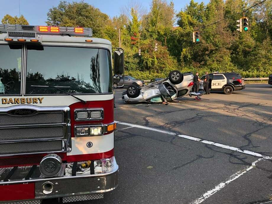 The aftermath of a crash at the intersection of White Turkey Road Extension and Riverview Drive in Danbury, Conn., on Sept. 22, 2020. Photo: Contributed Photo / Danbury Fire Department