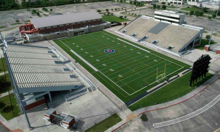 Woodforest Bank Stadium has seen many athletic accomplishments since its opening in 2008. This year has been different, however, as the Conroe ISD venue has been used as a COVID-19 testing site and hosted socially-distanced graduations. Things will look more normal Thursday night as Grand Oaks and Caney Creek kick off the 2020 football season at Woodforest Bank Stadium at 7 p.m. under the lights. Photo: Jason Fochtman, Houston Chronicle / Staff Photographer / 2020 © Houston Chronicle