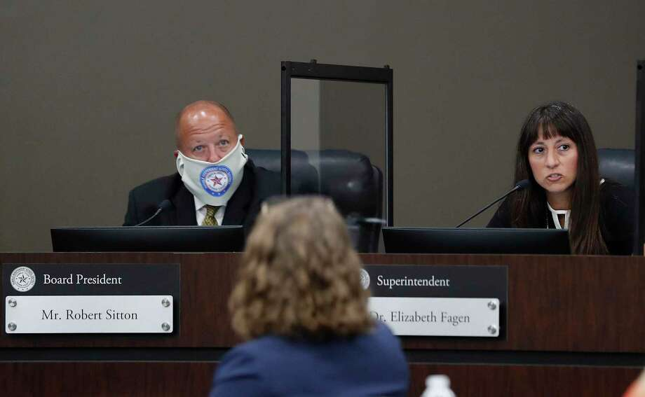 Humble ISD Superintendent Dr. Elizabeth Fagen speaks while Robert Sitton, board president listens during the Humble ISD board meeting to discuss the reopening of schools, Monday, August 3, 2020, in Humble. Photo: Karen Warren, Houston Chronicle / Staff Photographer / © 2020 Houston Chronicle