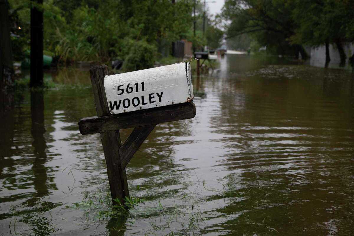 Part of Sam Houston Street is under water caused by Tropical Storm Beta, Wednesday, Sept. 23, 2020, in Houston.