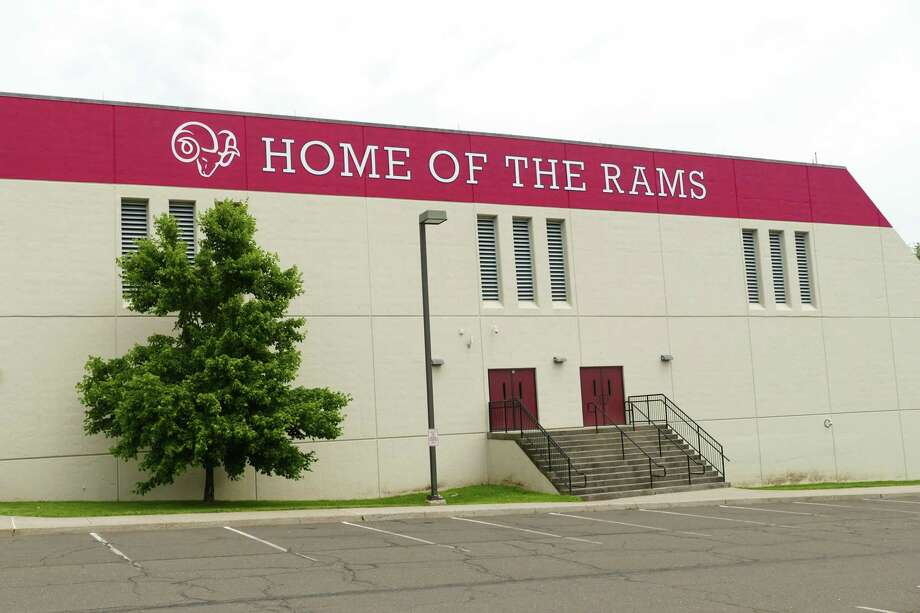 The school district painted the south side of the New Canaan High School in large letters saying the Home of the Rams just in time for graduation for the class of 2019. Photo: Grace Duffield / Hearst Connecticut Media / Connecticut Post