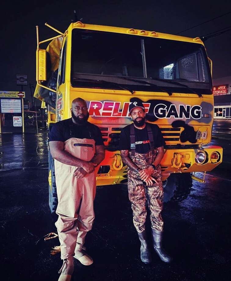 Trae the Truth, DJ Mr. Rogers and Relief Gang are out helping out families in need after flooding caused by Tropical Storm Beta. Photo: Trae The Truth Instagram
