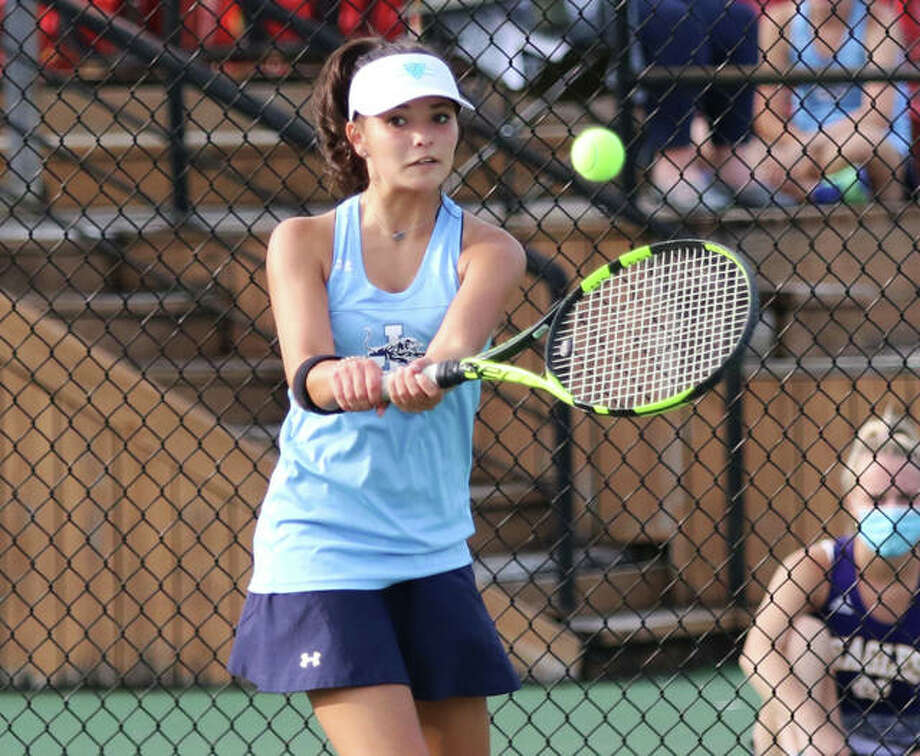 Jersey's Sabrina Ingram defeated Marquette's Nina Walters 6-3, 6-0 at No. 3 singles and helped the Panthers beat Marquette 7-2 in prep girls tennis action at JCHS. Photo: Greg Shashack File   The Telegraph