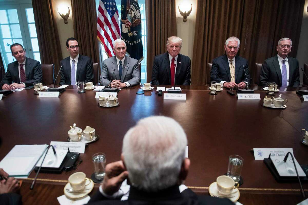 President Donald Trump listens during an expanded bilateral meeting with Indian Prime Minister Narendra Modi in the Cabinet Room of the White House in June 2017. MUSTC REDIT: Washington Post photo by Jabin Botsford
