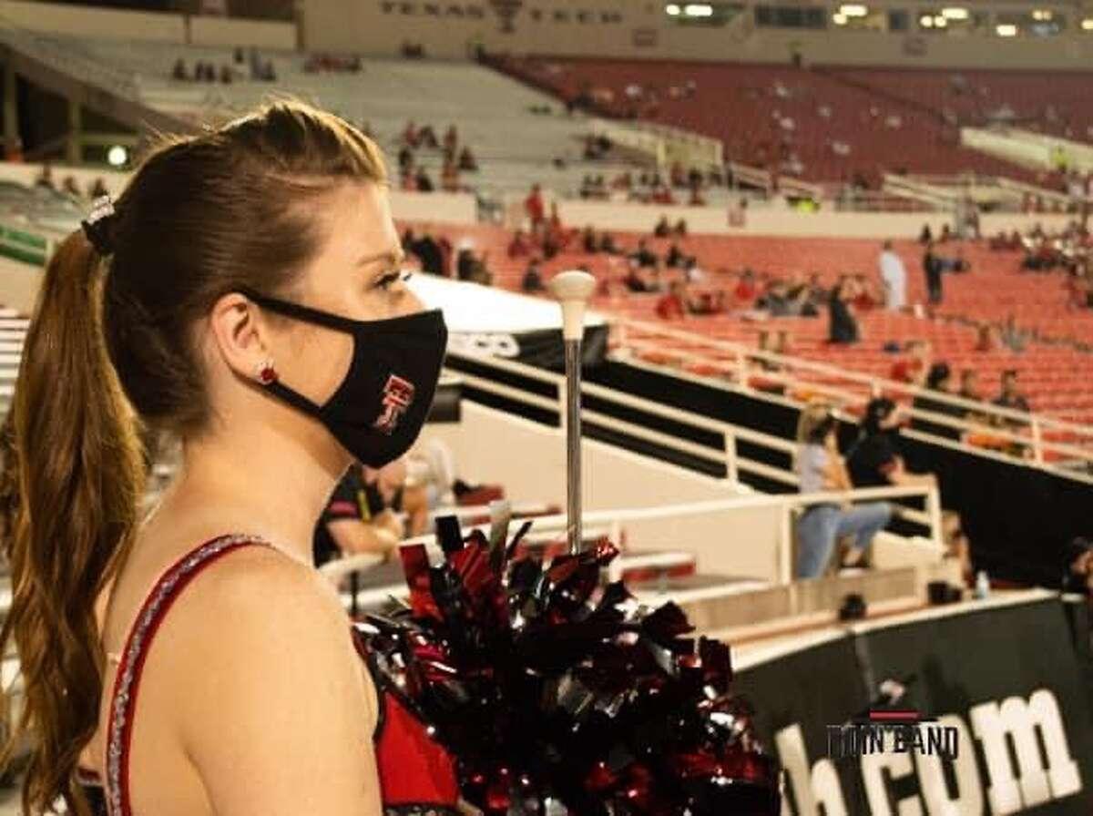 Midland Christian School graduate Morgyn Hendon is a member of the Texas Tech University twirling team.