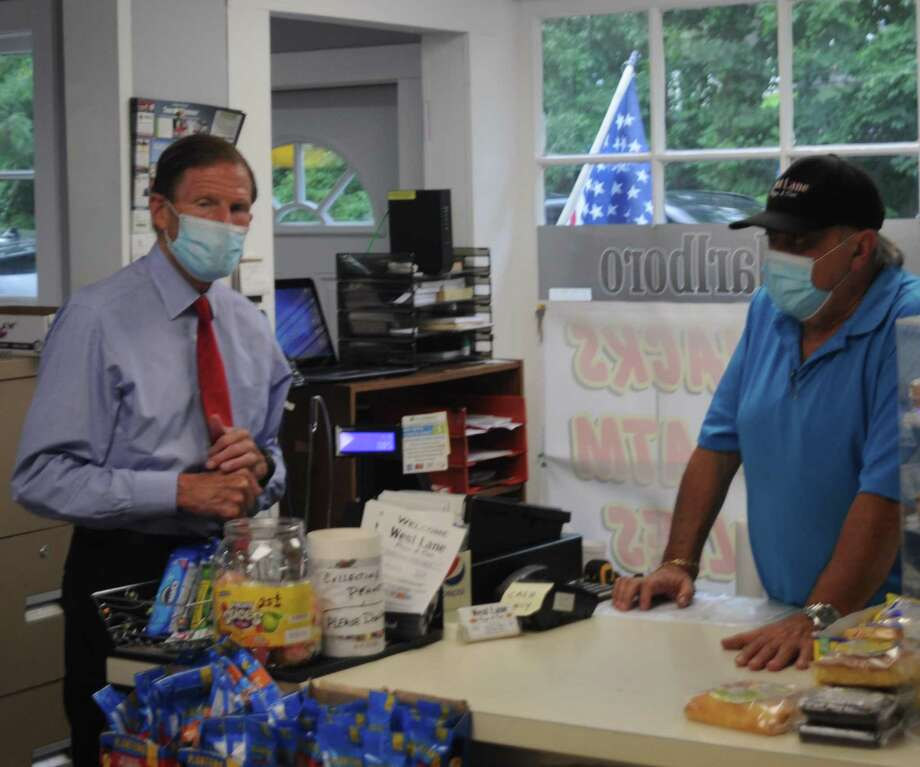 Sen. Richard Blumenthal visited the West Lane Pizza and Deli the last time he was in Ridgefield on Aug. 12 to see damage from Storm Isaias. Photo: Macklin Reid / Hearst Connecticut Media