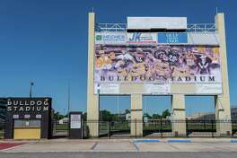 The Nederland Bulldogs stadium is due to get new turf installed on the field, but the Photographed on April 23, 2020. Fran Ruchalski/The Enterprise