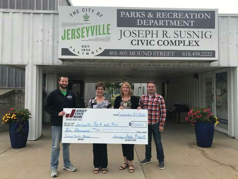 Jersey State Bank has donated $10,000 toward renovations at the Susnig Complex. From left are Tyler Hermens, Jerseyville Director of Parks and Recreation; Kathy Landess, Vice President-Human Resources at Jersey State Bank; Joni Soer, Senior VP & Chief Financial Officer at Jersey State Bank; and	Zach Crawford, Commissioner of Public Property for Jerseyville.