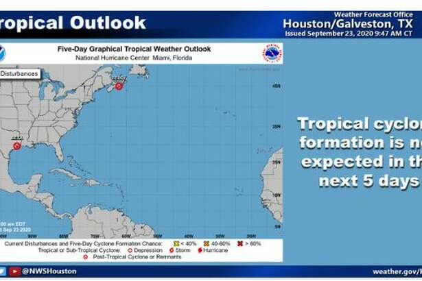 No tropical cyclones were expected to impact the Houston/Galveston area for at least the next five days, the National Weather Service reported on Wednesday, Sept. 23, 2020.