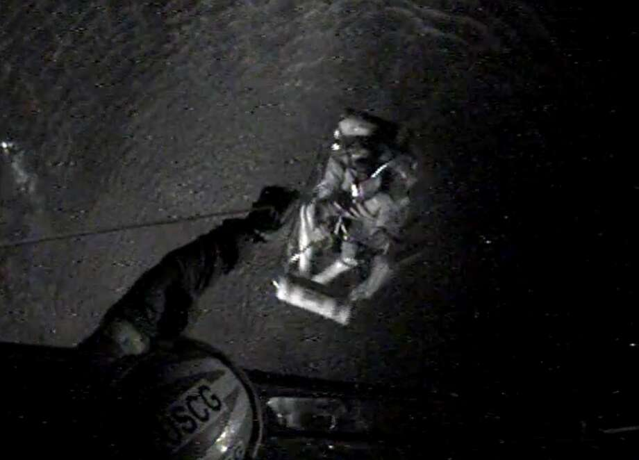 On Monday, the U.S. Coast Guard Air Station Corpus Christi aircrew rescued a man who was caught in rough waters from Tropical Storm Beta off the Port Aransas coast. Photo: U.S. Coast Guard Sector / Air Station Corpus Christi