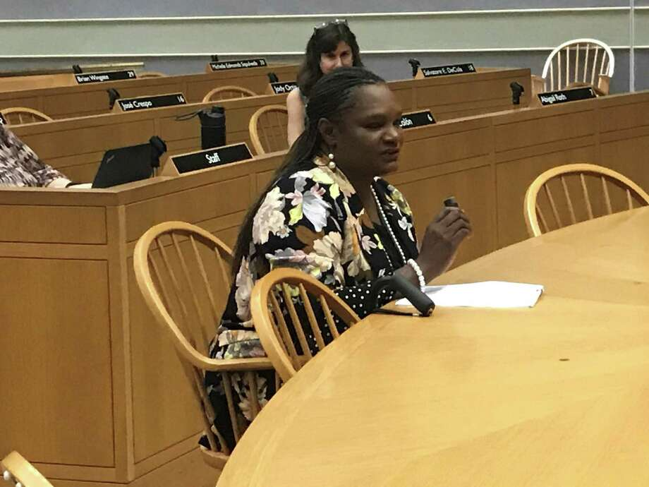 Livable Cities Initiative Director Serena Neal-Sanjurjo speaks at a June 20, 2019 Joint Community Development and Legislation Committee meeting. Photo: Brian Zahn/Hearst Connecticut Media