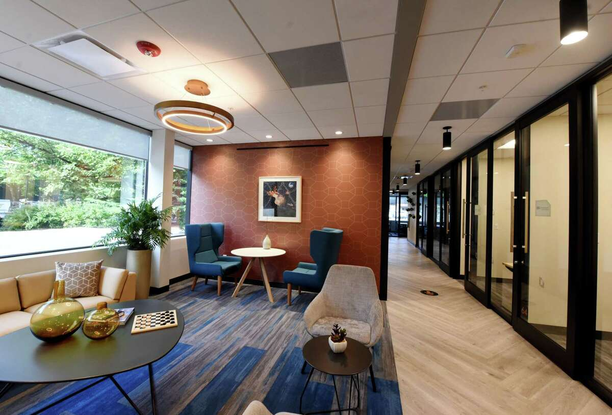 Shared space inside the new Hone Coworks flexible office and coworking space from The Rosenblum Companies on Wednesday, Sept. 23, 2020, in Guilderland, N.Y. (Will Waldron/Times Union)