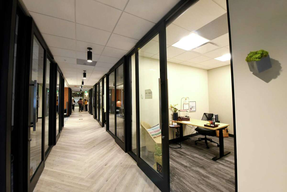 Office space inside the new Hone Coworks flexible office and coworking space from The Rosenblum Companies on Wednesday, Sept. 23, 2020, in Guilderland, N.Y. (Will Waldron/Times Union)
