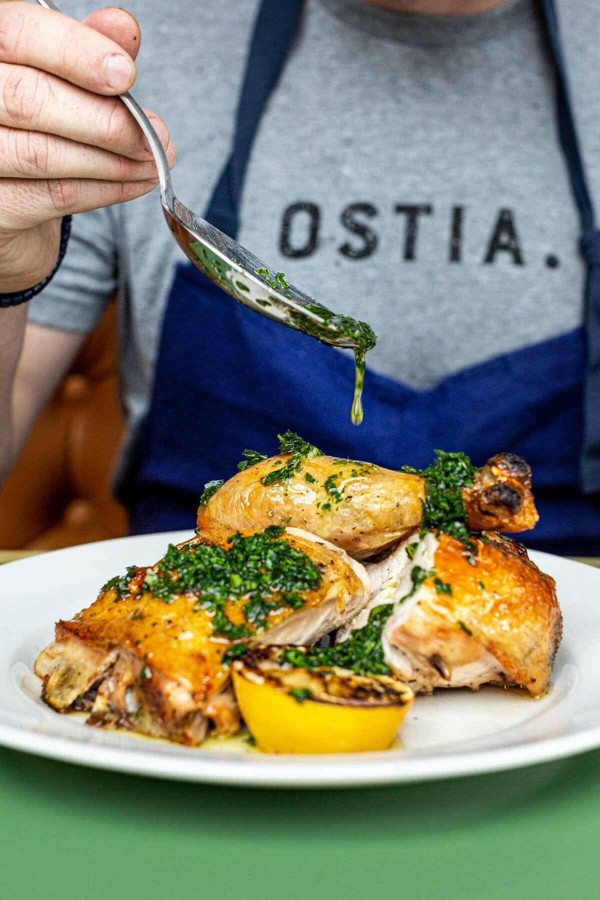 Chicken with salsa verde at Ostia restaurant.