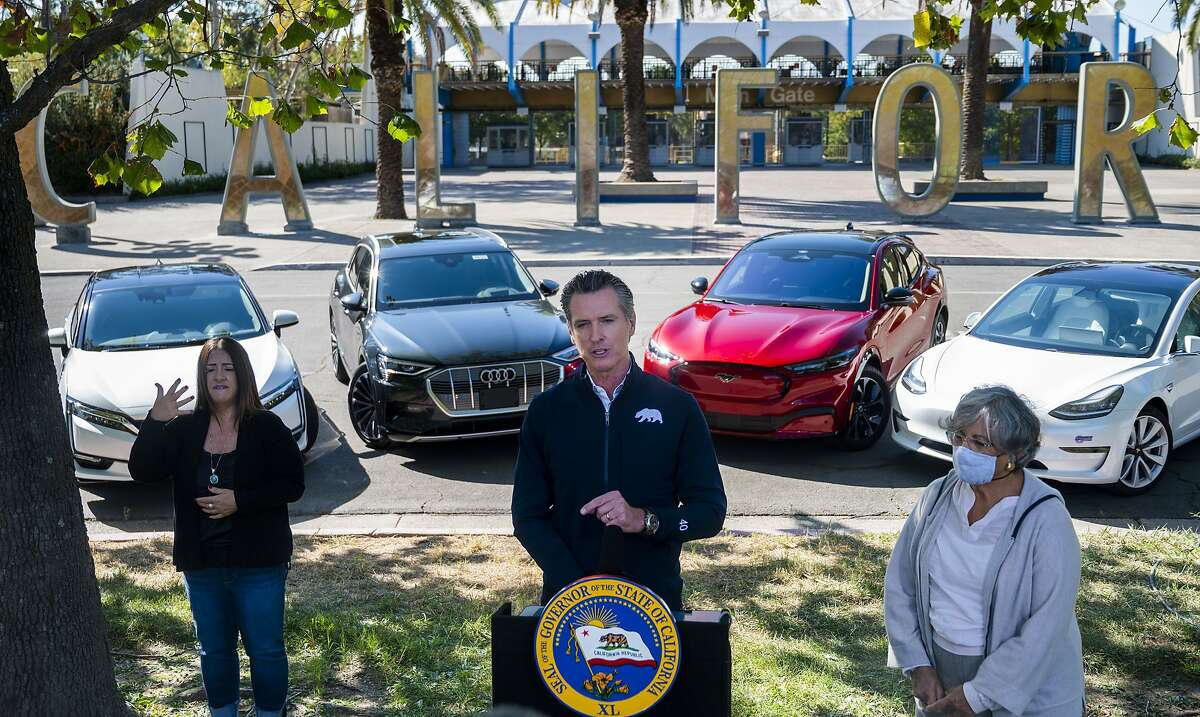 Gov. Gavin Newsom announces his order to ban sales of new gas-powered cars by 2035 at Cal Expo in Sacramento.