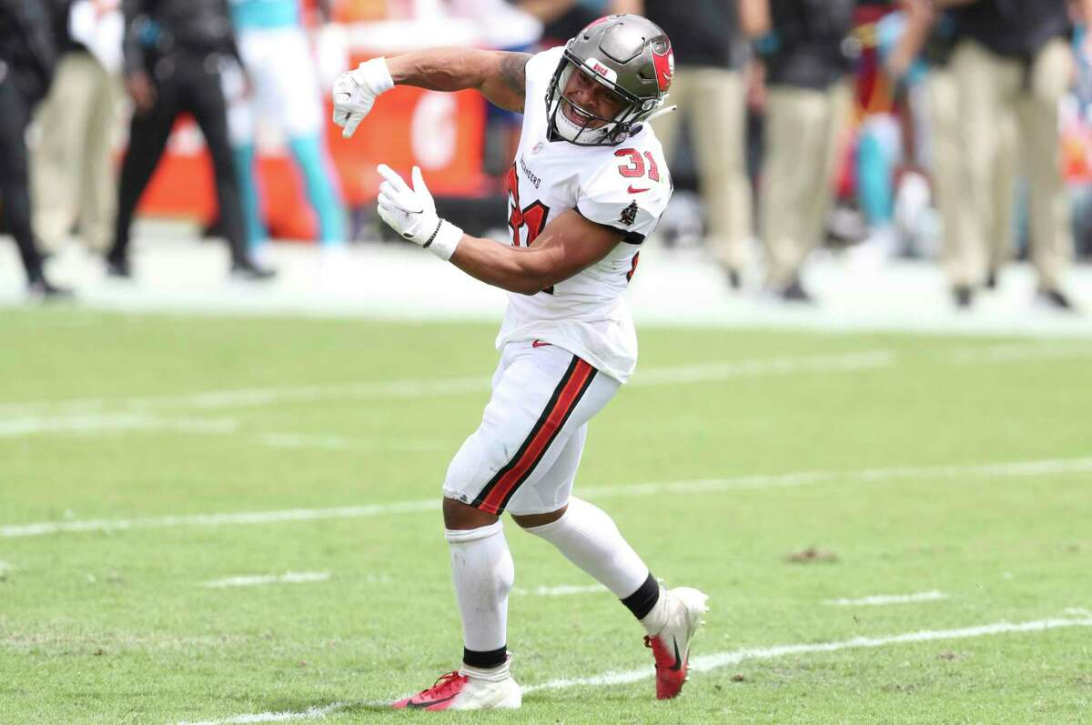 Tampa Bay Buccaneers safety Antoine Winfield Jr. (31) celebrates a play against the Carolina Panthers during the first half of an NFL football game Sunday, Sept. 20, 2020, in Tampa, Fla. (AP Photo/Mark LoMoglio)