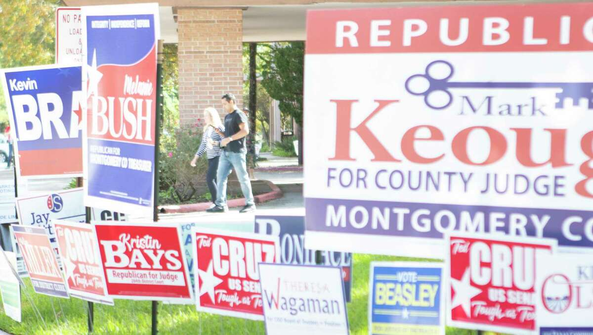 Those electioneering at two south county locations for the upcoming Nov. 3 general election will have new regulations to follow after Montgomery County commissioners approved a resolution regarding parking lots and green spaces. Voters walk out of the South County Community Center in this 2018 file photo.