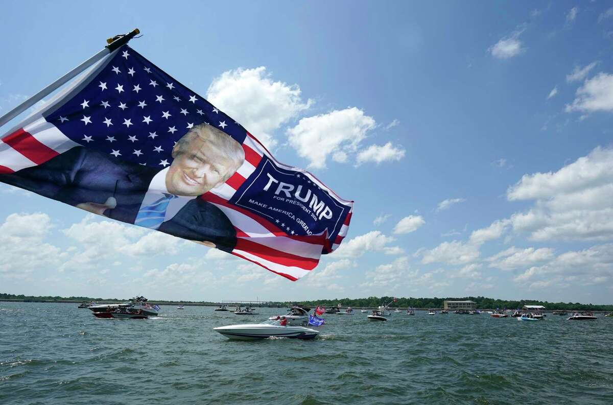 Boaters gather for the Trump Boat Parade on Lake Conroe Saturday, June 6, 2020, in Conroe.