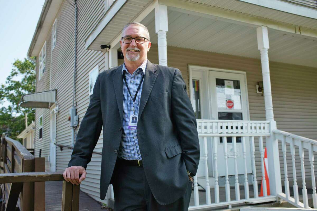 Duane Vaughn, executive director of Shelters of Saratoga, poses for a photo outside the organizations office on Monday, Sept. 21, 2020, in Saratoga Springs, N.Y. (Paul Buckowski/Times Union)