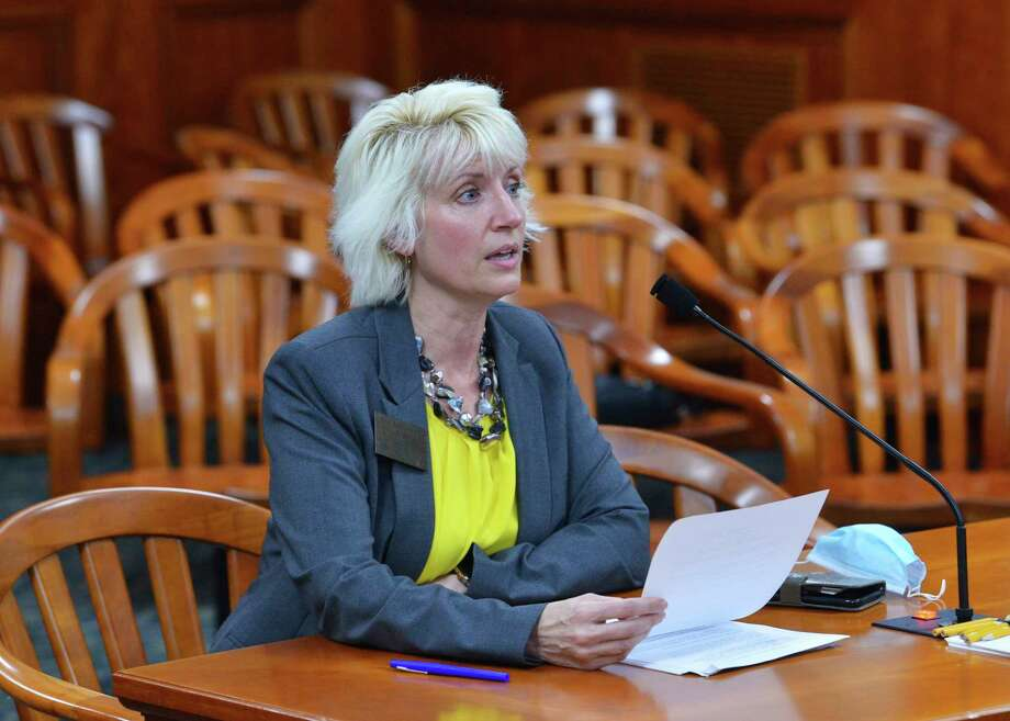 Rep. Annette Glenn, R-Midland, is shown before the House Government Operations Committee on Wednesday, explaining her bill to protect state employee whistleblowers. (Photo provided)