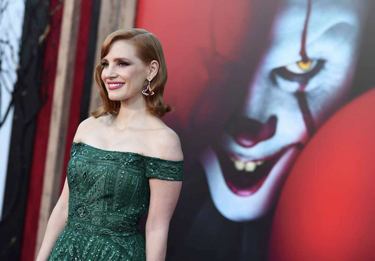 FILE - In this Monday, Aug. 26, 2019 file photo, cast member Jessica Chastain arrives at the Los Angeles premiere of