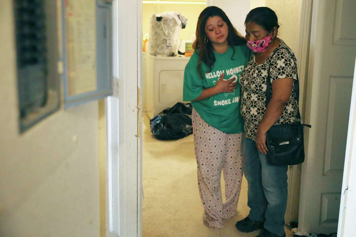 Angelic Barron, 28, hugs Rose Sanchez, 66, in Barron?•s bullet riddled apartment on the 5600 block of Culebra Road, Wednesday, Sept. 23, 2020. San Antonio police responded to a burglary in progress call at the apartment late Tuesday. After shots were fired, Victor Sanchez, 44, father of one of Barron?•s children and son of Rose Sanchez, was killed.