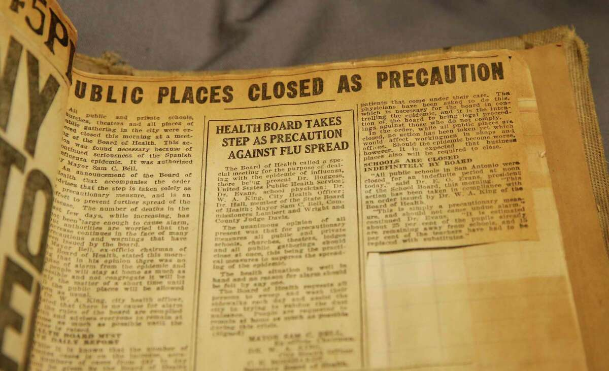 A 1918 article on actions taken to combat the Spanish Flu is seen in a scrapbook that is part of the Witte Museum's collection. The scrapbook was compiled by Angie Senette who was a 22-year-old stenographer at the time. She lived in a house on West Houston Street on the near West Side with her sister.