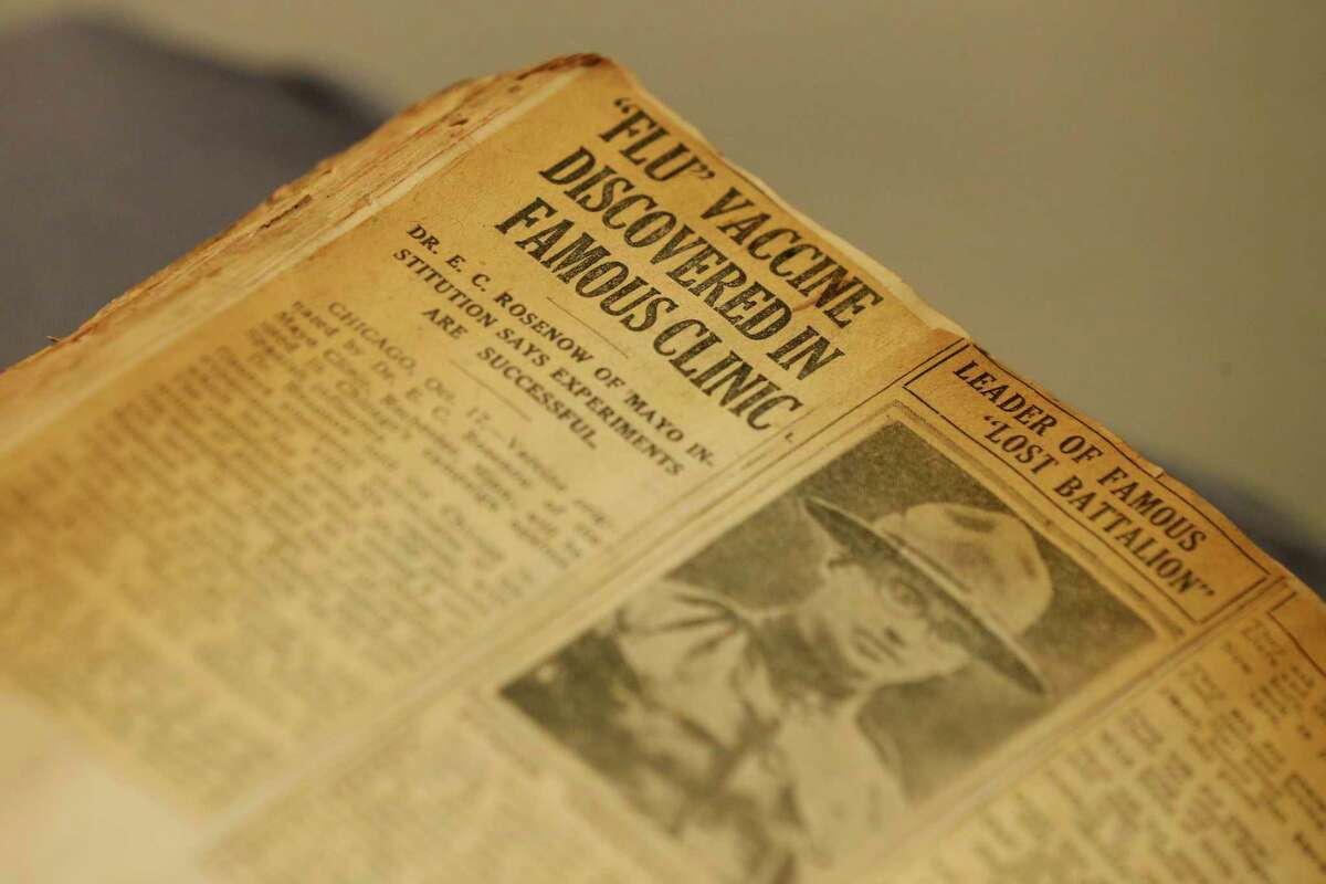 An Oct. 17, 1918 article about a vaccine for the Spanish flu is among the articles clipped by Angie Sentte and saved in a scrapbook she kept that year. The scrapbook is now part of the collection at the Witte Museum.
