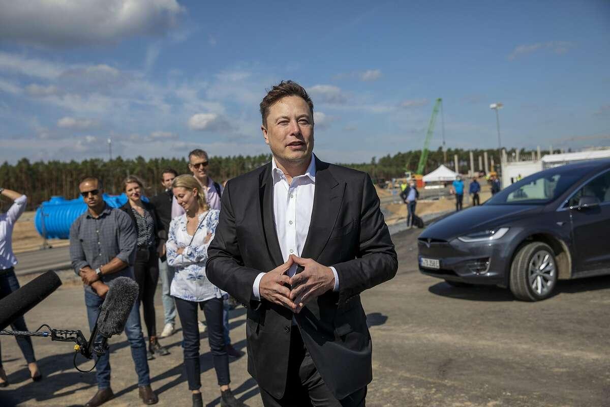 Tesla head Elon Musk at the construction site of the new Tesla Gigafactory near Berlin on September 03, 2020.