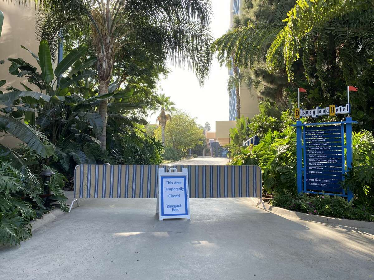 The Disneyland Hotel, attached to Downtown Disney, is currently closed and totally blocked off from guests on September 21, 2020 in Anaheim, California.