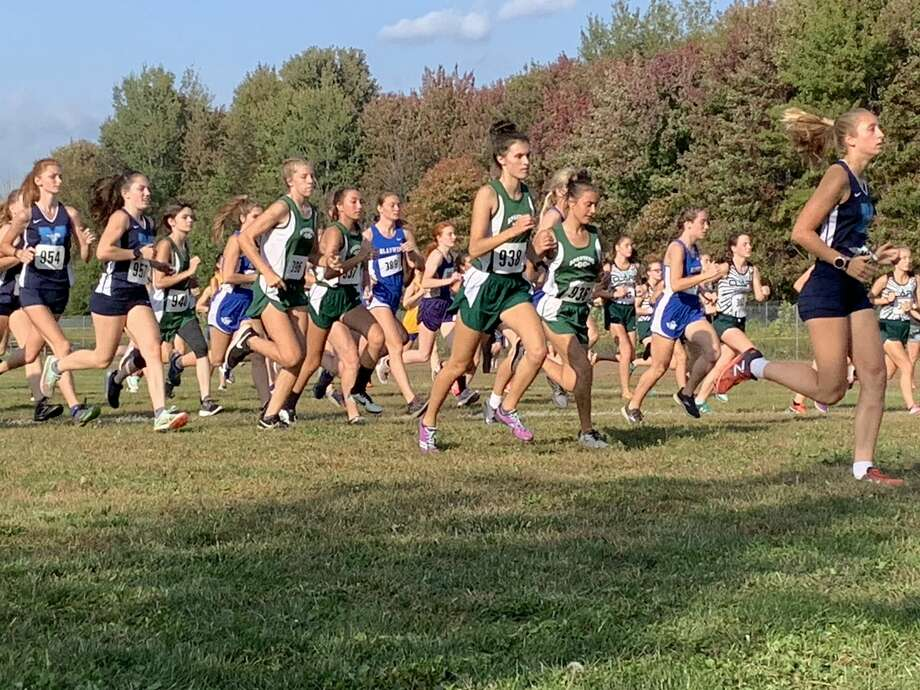 The girls' race gets underway in Wednesday's first Jack Pine Conference cross country jamboree at Shepherd. Photo: Fred Kelly/fred.kelly@mdn.net