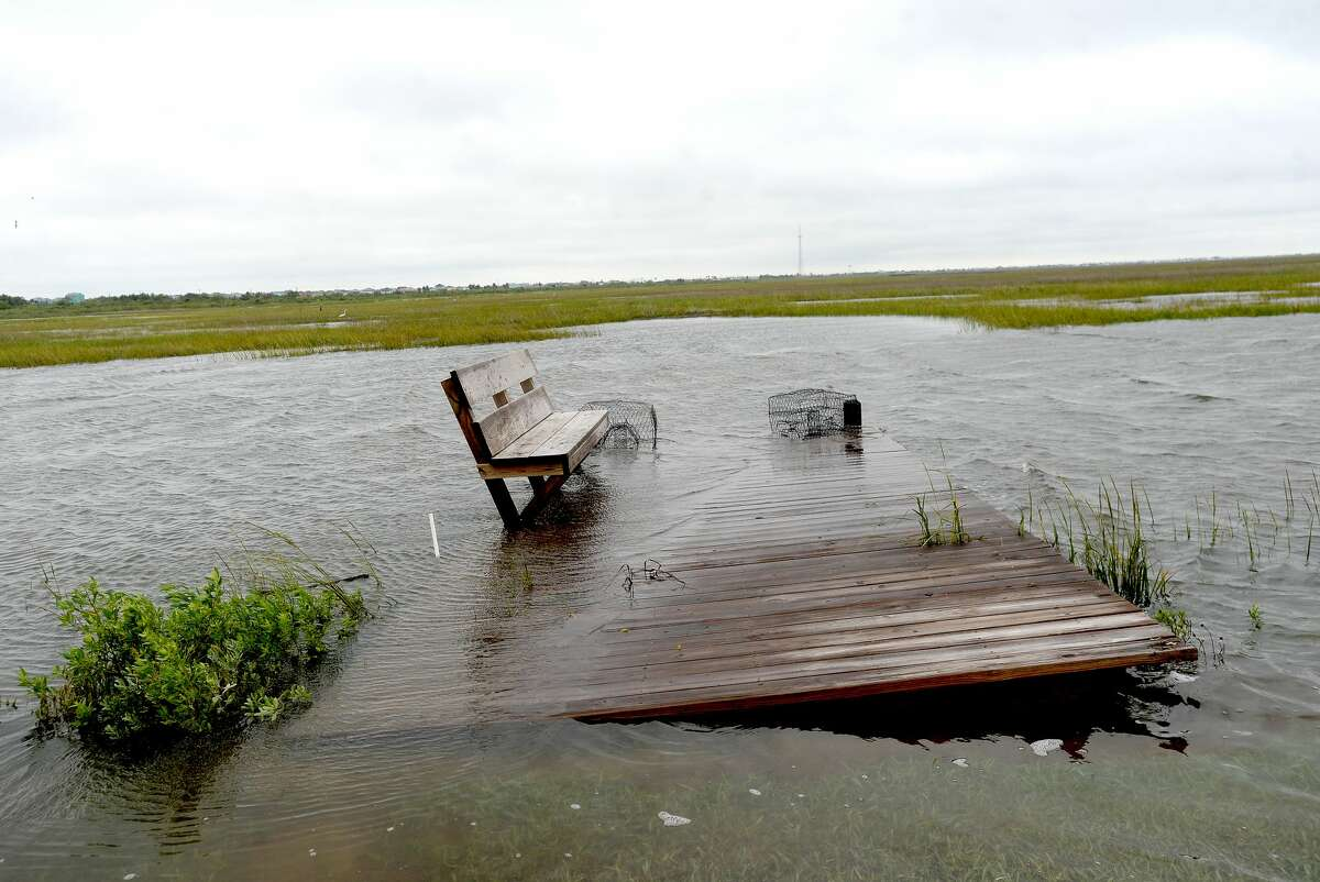 Roadways on the bay side of the Bolivar Penninsula remained flooded Wednesday after Tropical Depression Beta passed through the region Tuesday and into Wednesday morning. Photo taken Wednesday, September 23, 2020 Kim Brent/The Enterprise